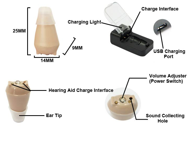 jh909 hearing aids size diagram
