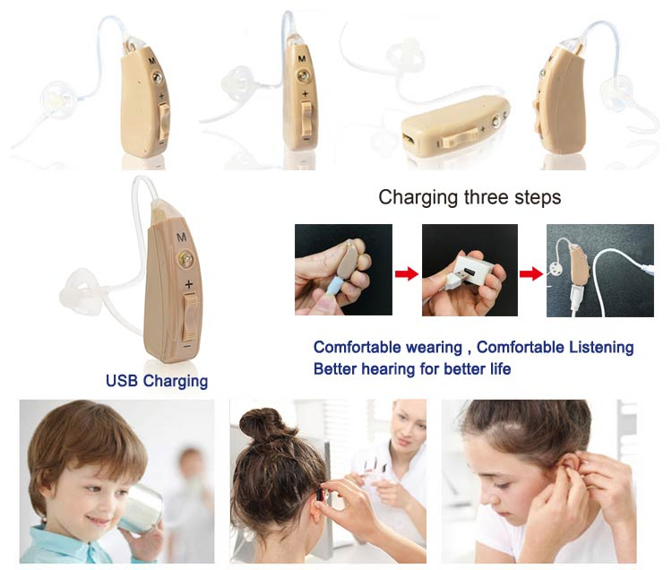 JH-351O BTE FM Open Fit Rechargeable Hearing Aid wearing